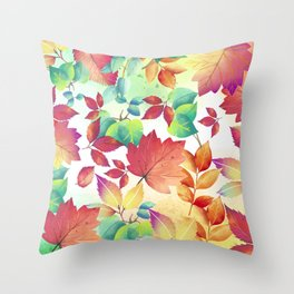 Watercolor Autumn Leaves Throw Pillow