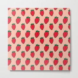 Strawberry Pattern (red/pink) Metal Print