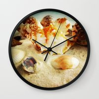 shell Wall Clocks featuring Shell by brushnpaper