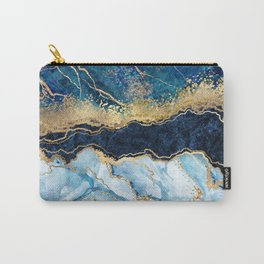 Abstract blue marble texture, gold foil and glitter decor, painted artificial indigo marbled surface, fashion marbling illustration Carry-All Pouch