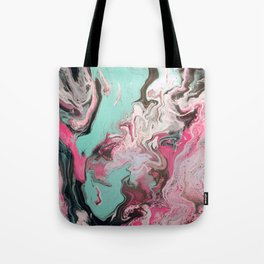 Fluid Art Acrylic Painting, Pour 1 - Pink, Black, White, Turquoise Tote Bag