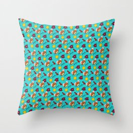 Hammy Pattern in Turquoise Throw Pillow