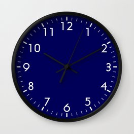 Nautical Navy Blue Solid Color Block Wall Clock