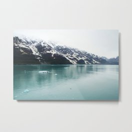 Hubbard Glacier Snowy Mountains Alaska Wilderness Metal Print