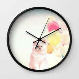 Pink cat Wall Clock