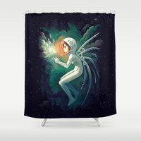 contact Shower Curtains featuring Contact by Freeminds