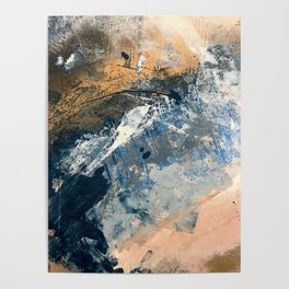 Wander [3]: a vibrant, colorful abstract in blues, pink, white, and gold Poster