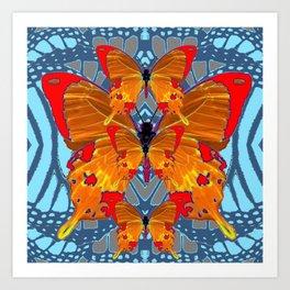 ORANGE BUTTERFLIES  BABY BLUE ABSTRACT PATTERN ART Art Print