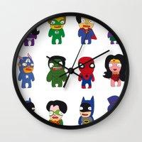 superheroes Wall Clocks featuring superheroes by Manola  Argento
