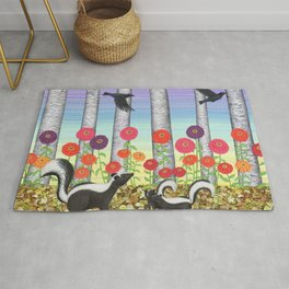 striped skunks, zinnias, birches, & crows Rug