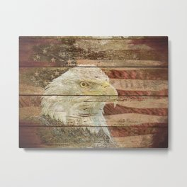Rustic Bald Eagle Bird American Flag Patriotic Country Art A167 Metal Print