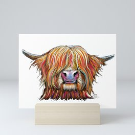 Scottish Highland Cow ' CHARMER oN WHiTe ' by Shirley MacArthur Mini Art Print