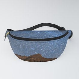 Starry Night: Brilliant Blue Stars Behind Rocky Mountain Fanny Pack