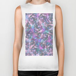 Feathers Drawn in Ink and Painted Watercolor Biker Tank