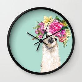 Flower Crown Llama in Green Wall Clock