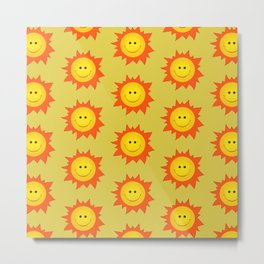 Happy Cartoon Sun Pattern Metal Print