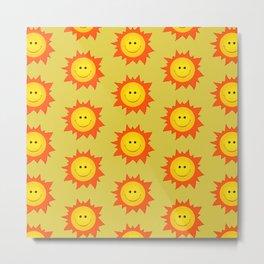 Happy Cartoon Sun Pattern Metal Print