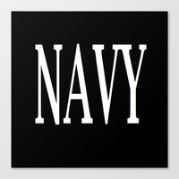 navy Canvas Prints featuring NAVY by shannon's art space