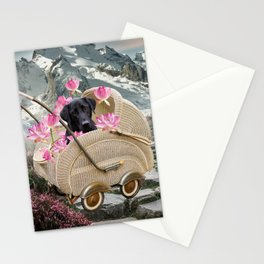 Labrador Retriever In Baby Carriage Mountain Landscape Stationery Cards