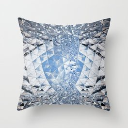 Blue water in crystals Throw Pillow
