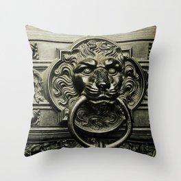 Lion Door Throw Pillow