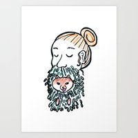 Inu-Bush and Man-Bun Art Print