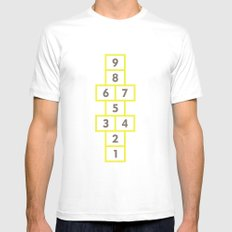 Hopscotch Yellow White MEDIUM Mens Fitted Tee