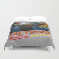 metroid Duvet Covers featuring Metroid Remastered Edition by Julian Rhys