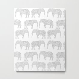 Geometric Elephant grey monochromatic minimal gray and white kids children pattern print  Metal Print