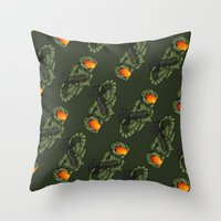 master chief Throw Pillows featuring CAPRICORN MASTER CHIEF by Mademoiselle Zim