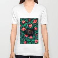 folk V-neck T-shirts featuring Folk by Plantus Marina