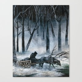 Grim Reaper with Horse in the Woods Canvas Print