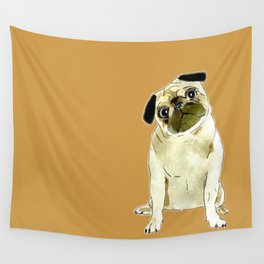Sitting Pug Wall Tapestry