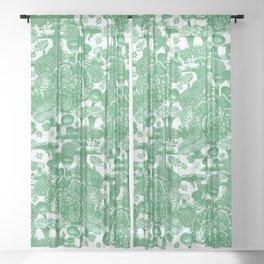 Welcome to my fungi world - green Sheer Curtain