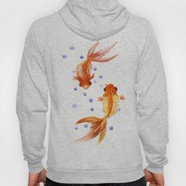 Goldfish, two fish, Koi Asian Style watercolor art, feng shui Hoody