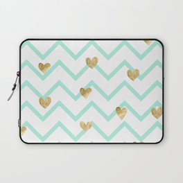 mint gold wave hearts Laptop Sleeve