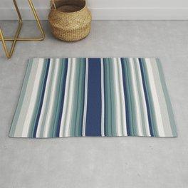 Vintage blue vertical stripes pattern Rug