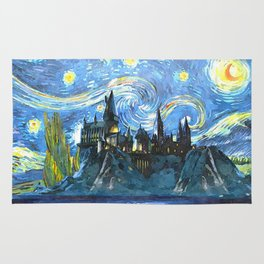 Castle in Starry Night Rug