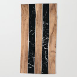 Wood Grain Stripes Black Granite #175 Beach Towel
