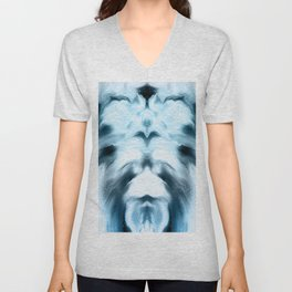 abstract psychedelic paint flow ghost face coi Unisex V-Neck