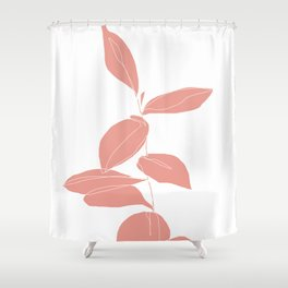 One line plant drawing - Berry Pink Shower Curtain