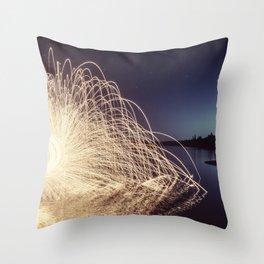 Sparking into the Lake Throw Pillow