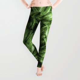 Painted Green Monstera palm leaves by Brian Vegas Leggings