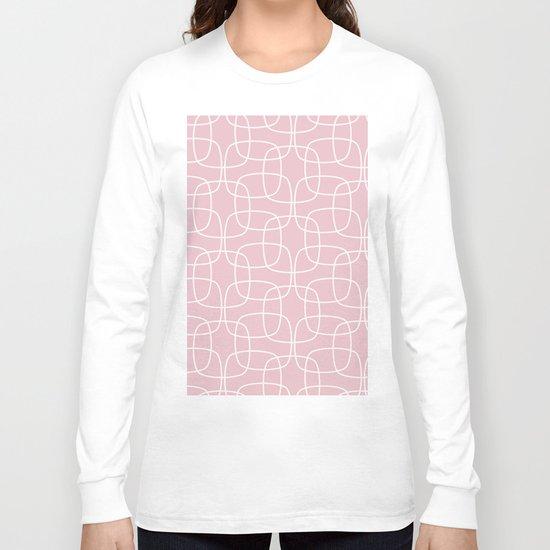 Square Pattern Pink Long Sleeve T-shirt