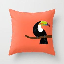 Toucan orange Throw Pillow