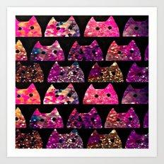 Glitter cats-71 Art Print