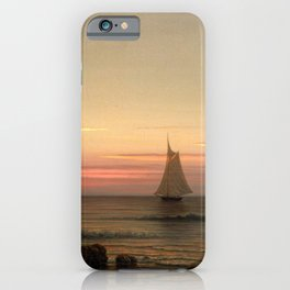 Sailing Off The Coast 1869 By Martin Johnson Heade | Reproduction iPhone Case