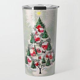Vintage Christmas Tree Village Travel Mug