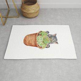 Succulent flower pot cat peeking Painting Wall Poster Watercolor Rug