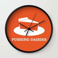 pushing daisies Wall Clocks featuring Pushing Daisies by MacGuffin Designs